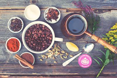 kawa pięciu przemian ziarna kawy przyprawy cynamon imbir cytryna chilli flat lay figa coffee wrocław
